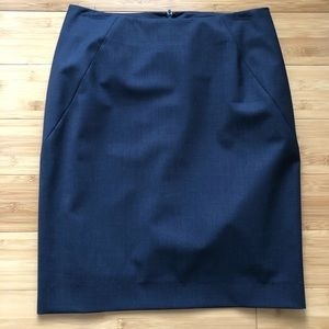 Theory blue double vent pencil skirt sz 6